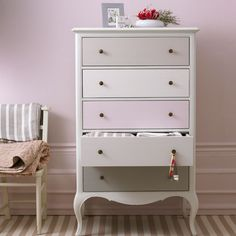 Painted chest of drawers.  Love the subtle color variations of the drawers.  I've also seen this done where you do a gradient by using a swatch from the paint store (that has 4 or 5 colors on it).