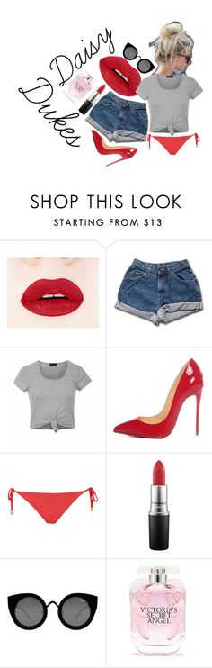 Daisy Duke by vikrirozak on Polyvore featuring Ally Fashion, Topshop, Christian Louboutin, Quay, MAC Cosmetics and Victoria's Secret
