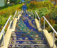 Never knew this existed! 16th Avenue Mosaic Staircase, San Francisco, CA.  There are 163 mosaic panels—one for each step—that make up this staircase. The panels begin depicting the ocean and, by the time you reach the highest step, you're in the sky with the birds.