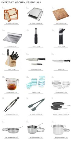 """18 Everyday Kitchen Essentials, 9 """"Nice to Have"""" Tools + What You DON'T Need tools cooking equipment 18 Everyday Kitchen Essentials, 9 """"Nice to Have"""" Tools + What You DON'T Need Basic Kitchen, Minimalist Kitchen, New Kitchen, Country Kitchen, Kitchen Decor, Kitchen Essentials List, Apartment Essentials, Kitchen Items List, Kitchen Utensils List"""