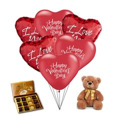 3896929354dc9 Love Combo pack Balloons Valentine - Love 6 Mylar balloons with Plush bear  and Chocolate truffles
