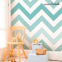 Chevron Teal Peel & Stick Fabric Wallpaper Repositionable(Etsy のAccentuWallより) https://www.etsy.com/jp/listing/197687460/chevron-teal-peel-stick-fabric-wallpaper