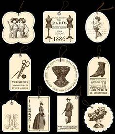 jolies étiquettes Vintage Tags, Vintage Labels, Vintage Ephemera, Vintage Paper, Vintage Prints, Vintage Sewing, Printable Labels, Printable Paper, Etiquette Vintage