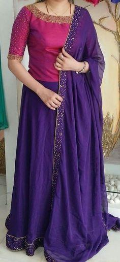 A modest lehenga- plus size fashion ethnic Half Saree Designs, Fancy Blouse Designs, Lehenga Designs, Saree Blouse Designs, Dress Designs, Churidar Designs, Long Gown Dress, Lehnga Dress, Lehenga Blouse