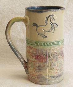 Ceramic dancing horse coffee mug 20oz stoneware by desertNOVA, $22.00