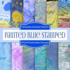 Painted Blue Stamped Texture Digital Paper DP2104 - Digital Paper Shop - 1