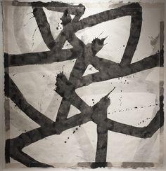 """Marc Katano, """"Bianco e Nero,"""" 2014, Acrylic on Nepalese Paper, 59 x 57 Inches http://sloanmiyasatofineart.com/michelle-bello/marc-katano/"""
