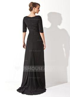 Vestidos princesa/ Formato A Decote V Assimétrico De chiffon Vestido de festa com Pregueado (017020812)