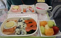 Lunch from someone's trip to Japan, on a Hello Kitty airline.