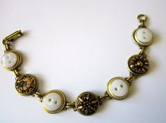 Antique BUTTON bracelet with all Czech glass buttons. BLACK & WHITE. One of a  kind, by sewsandyshop
