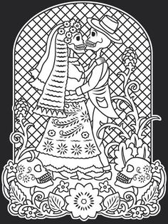 day of the deaddia de los muertos stained glass coloring book dover publications