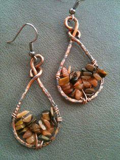 Artisan Red Aventurine and Tigereye gemstone  teardrop antiqued copper earrings by BLLstudio,
