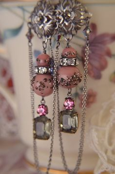 Exquisite vintage glass jewels rhinestone and chain by Purrrls