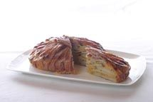 Potato bacon cheddar tart - the bacon is wrapped around the potato center, forming the best crust ever.