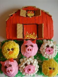 Barn cake with animal cupcakes