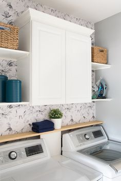 Laundry Room Refresh Laundry Room Makeover and organization - Ideas for making a very small laundry room with storage and cabinet.<br> Our small laundry room gets a refresh with some updated DIY decor and organization. See the weekend transformation. Laundry Room Remodel, Laundry Room Cabinets, Laundry Room Storage, Laundry Room Design, Laundry Closet Makeover, Ideas For Laundry Room, Laundry Room With Storage, Laundry Detergent Storage, Laundry Closet Organization