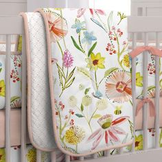 Springtime Floral Crib Comforter made with care in the USA by Carousel Designs. Measures approximately wide by long. Yellow Nursery, Girl Nursery, Vintage Travel Decor, Crib Bedding Boy, Comforter, Travel Nursery, Crib Rail Cover, Airplane Nursery, Carousel Designs