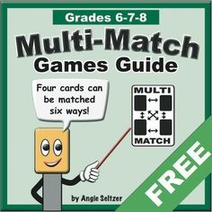 This FREE guide describes four fun, familiar games to play with any 36-card set. It also comes with templates for students to use to make their own card set. ~by Angie Seltzer