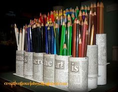 Maybe cut in half and use it for crayon storage Crayon Storage, Pen Storage, Craft Room Storage, Craft Organization, Storage Ideas, Craft Rooms, Classroom Organization, Storage Solutions, Homemade Desk