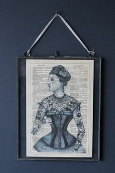 Antique Book Paper Prints - Blue Tattoo Lady