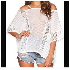 Free People Cold Shoulder Sweater Lovely lightweight cotton sweater, perfect to throw on on cool days Free People Tops