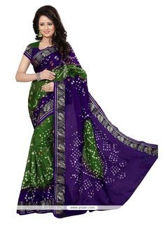 Beckoning Green And Purple Bandhej Work Jacquard Silk Designer Traditional Saree Model: YOSAR10213