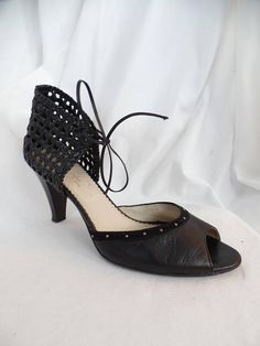 083a68a462ea vintage TANG0 STYLE basket weave and studded cage heel open toe pump  The  N N Shoe made in Italy   size 39EU- fits 9.5US woman