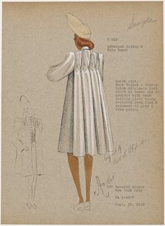 From New York Public Library Digital Collections. Vintage Inspired Fashion, 1930s Fashion, Retro Fashion, Vintage Fashion, Fashion Fashion, Fashion Design, Fashion Sketchbook, Fashion Sketches, Fashion Illustration Portfolio