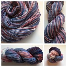 MISS AMERICAN PIE ~ hand-dyed, USA made yarn. Color(s): dark blue, sapphire blue, cream, red (I use only professional grade dyes)  Fiber(s): 100% mountain merino  Weight: sock/fingering, 2 ply  Length/yardage: 400 yards  Care instructions: hand wash, lay flat to dry #yarnbaby