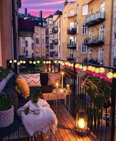 Variety of balcony design Vielzahl von Balkon-Design Small Balcony Decor, Tiny Balcony, Balcony Garden, Apartment Balcony Decorating, Apartment Balconies, City Apartment Decor, Balcony Lighting, Bedroom Balcony, Dream Apartment