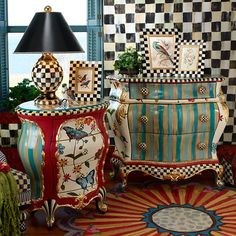 Mackenzie Childs Butterfly Accent Chest Shop Mackenzie Childs Butterfly Accent Chest Bombay Chests Bookcases Amp Cabinets Hand Applied Gold Leaf Courtly Check And Courtly Stripe Accents Art Furniture, Decoupage Furniture, Funky Furniture, Upcycled Furniture, Unique Furniture, Furniture Projects, Furniture Makeover, Furniture Design, Eclectic Furniture