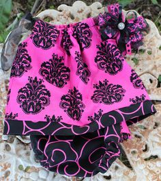 Pink and Black Dress with Bloomers by KustomKidz on Etsy, $35.00
