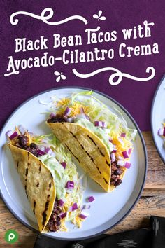 Celebrate the variety of flavors and ingredients you get with Publix Aprons® Black Bean Tacos with Avocado-Cilantro Crema. First, place beans, salsa, chili powder, and cumin in a medium saucepan and simmer until the mixture thickens. Next, in a food processor, blend lime juice, avocado, yogurt, cilantro, garlic, and seasoning until smooth. Lastly, top your tortillas with the bean mixture, lettuce, onions, cheese, and avocado crema. Find all the ingredients at your local Publix.