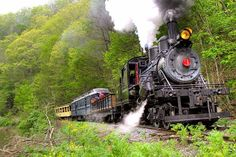 West Virginia The Durbin Rocket travels through the Monongahela National Forest, DURBIN ROCKET Excursion Train is powered by a rare steam locomotive