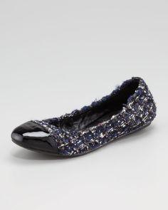 Wendy Tweed Ballerina Flat - Neiman Marcus