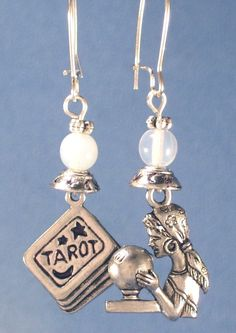 ✯ Psychic Medium Fortune Teller Silver Charms with Crystal Balls Earrings .:☆:. Etsy Shop DebsTreasures ✯