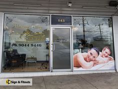 Our vinyl window graphics are very flexible, so they can be fully customised to meet the unique needs of your business. Tower Building, Window Graphics, Spa Massage, Window Decals, Window Design, Sign Design, Kerala, Signage, Clinic