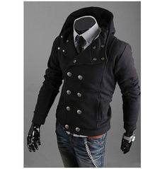 Black/Gray/Light Gray Mens Hoodie Cardigan Coats Double Breasted