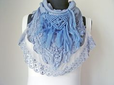 Hey, I found this really awesome Etsy listing at https://www.etsy.com/listing/247295362/blue-scarf-with-lace-triangle-scarf
