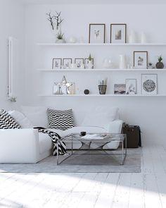 White living room. Via Imagination for breakfast