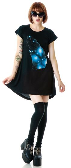 Wildfox Couture Galaxy Cat Daisy Dress | Dolls Kill