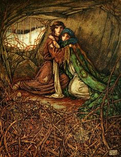 Maurice Lalau ~ The Romance of Tristram and Iseult ~ 1909 / Translated from the French by Florence Simmonds / London: William Heinemann, / The lovers lived crouching in the hollow of a rock. Tristan Et Iseult, Tristan Isolde, Medieval, Legends And Myths, Pre Raphaelite, Illustration Art, Book Illustrations, Couple Illustration, Fantasy Art