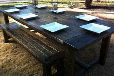 farmhouse table and bench stain- 1 coat of minimax ebony and 4 coats of minimax water based poly clear saitn Diy Furniture Projects, Cool Furniture, Home Projects, Craft Projects, Outdoor Spaces, Outdoor Living, Outdoor Decor, Farmhouse Table With Bench, Table Bench