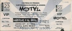 Boleta de los Premios Subterránica Colombia al Metal 2008
