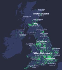A People Map of the UK, where city names are replaced by their most Wikipedia's resident: people born in, lived in or connected to a place. Alexander Armstrong, Bobby Sands, Alan Bates, Adam Johnson, Anne Boleyn, United Kingdom, Maps, City