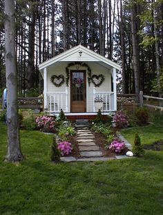 The cutest She Shed 10x16 cottage includes quaint porch. Recently featured in Better Homes and Gardens! Download DIY plans now $19.95! http://jamaicacottageshop.com/shop/pond-house/: