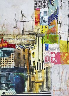 abstract art collage using Sennelier oil sticks Urban Landscape, Landscape Art, Modern Art Movements, Collage Art Mixed Media, Illustration, Arte Pop, Watercolor Artists, Abstract Photography, Photography Composition