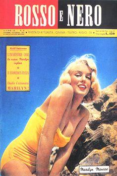 1954 October / November issue: Rosso E Nero Italian magazine cover,  Marilyn Monroe  .... #marilynmonroe #normajeane #vintagemagazine #pinup #icon #iconic #1950s #raremagazine #magazinecover
