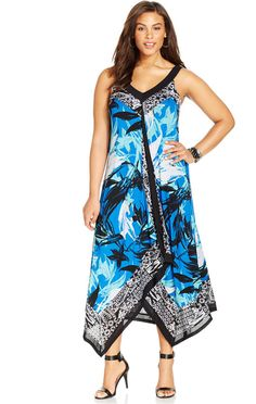 Plus Size Printed Cascade Maxi Dress