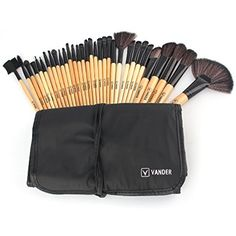 Vander 32PCs Professional Wood Makeup Brushes Set Synthetic Kakubi Cosmetic Foundation Blending Blush Eyeliner Face Powder Makeup Brush Kit with Leather Travel Pouch Bag Case -- Read more  at the image link. (This is an affiliate link and I receive a commission for the sales) #ToolsAccessories